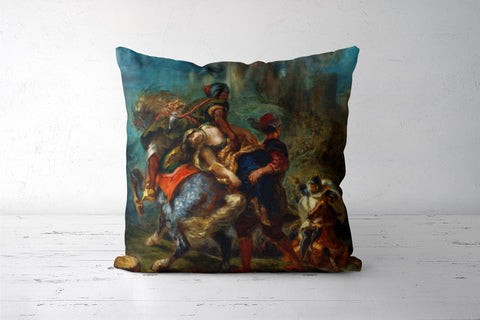 The Abduction of Rebecca by Eugène Delacroix Cushion Covers | Artist : Aditya Gupta