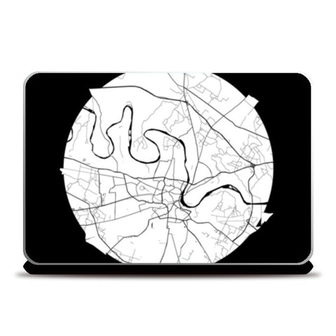 Agra Map, Black and White, India Map, World Map, Minimal Art, Poster, Wall Decor Laptop Skins | Artist : Shikhar Bhardwaj