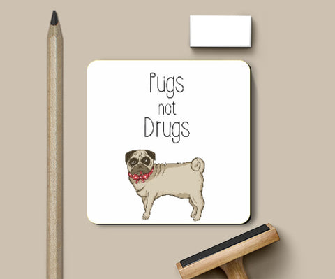 Coasters, Pugs not Drugs Cute Coaster Coaster | Artist : Aditya Golechha, - PosterGully