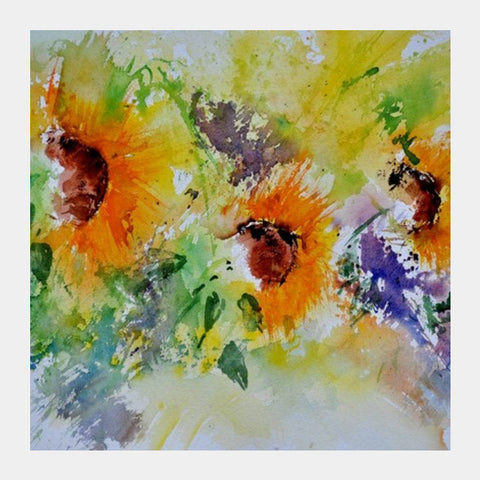Three sunflowers Square Art Prints | Artist : pol ledent