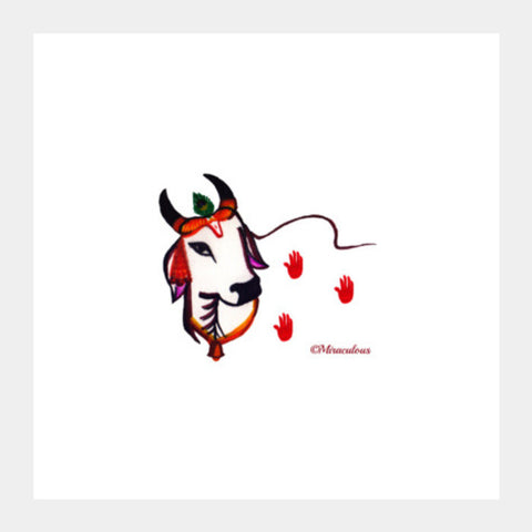 Gaiya | The adorable Indian Cow Square Art Prints | Artist : Miraculous