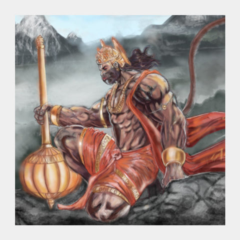 Lord Hanuman -The greatest superhero Square Art Prints | Artist : Draw On Demand