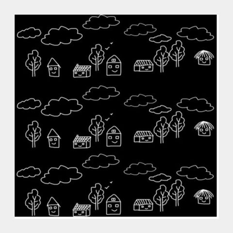 Square Art Prints, Tribal Art Black And White Happy Houses Square Art Prints | Artist : Seema Hooda, - PosterGully