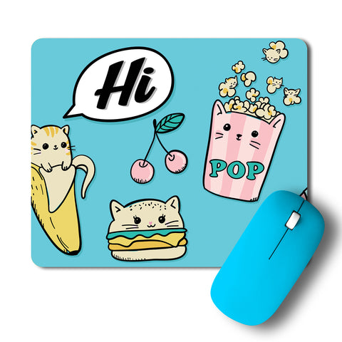 Cute Kitty Burger Popcorn Artwork Mousepad