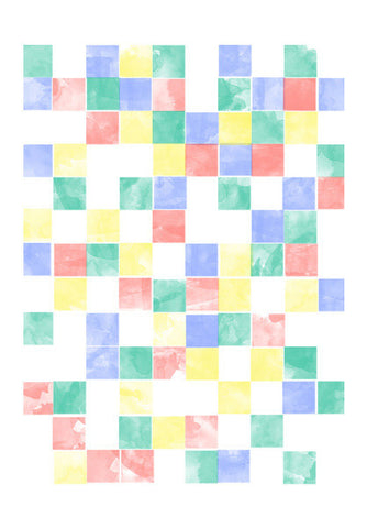 Abstract Watercolor Squares Art PosterGully Specials
