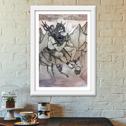 Shiva with Chillum on Mountains | Pencil Sketch | Premium Italian Wooden Frames | Artist : Nandini Rawat