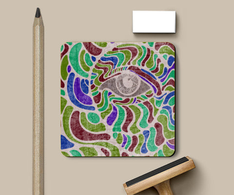 abstract eye colorful vector illustration Coasters | Artist : Simran Sain