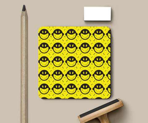 Monkey tongue out on black and yellow Coasters | Artist : Designerchennai