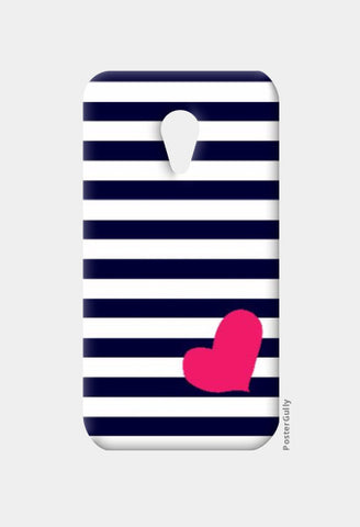 Moto G2 Cases, Heart & Stripes Blue Moto G2 Case | Artist: Shweta Paryani, - PosterGully