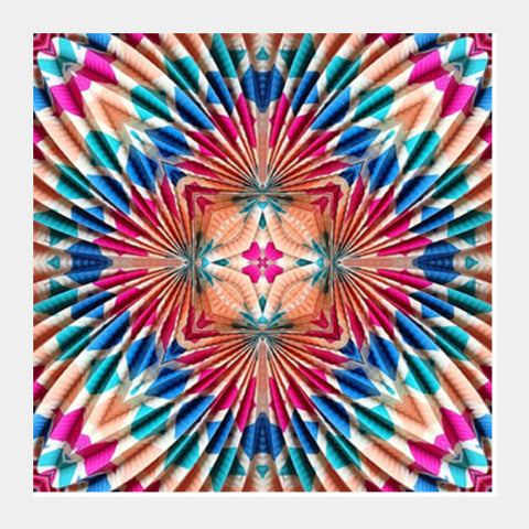 Colorful Abstract Psychedelic Kaleidoscope Digital Art Background Square Art Prints | Artist : Seema Hooda