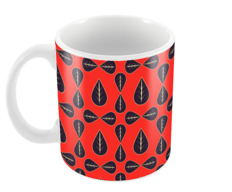 Seamless pattern with leaves on red background Coffee Mugs | Artist : Designerchennai