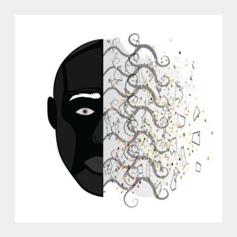 abstract face  Square Art Prints | Artist : vazir singh