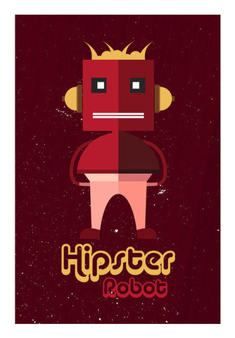 Hipster Robot With Abstract Red Background Art PosterGully Specials