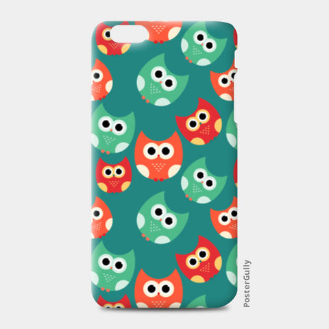 Owl illustrations pattern on green background iPhone 6 Plus/6S Plus Cases | Artist : Designerchennai