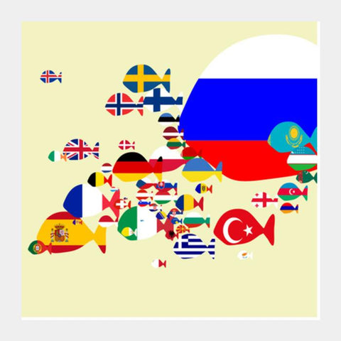 Europe : Keep Fishing Square Art Prints PosterGully Specials