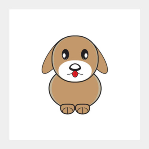 Little Cartoon Puppy Dog Square Art Prints PosterGully Specials