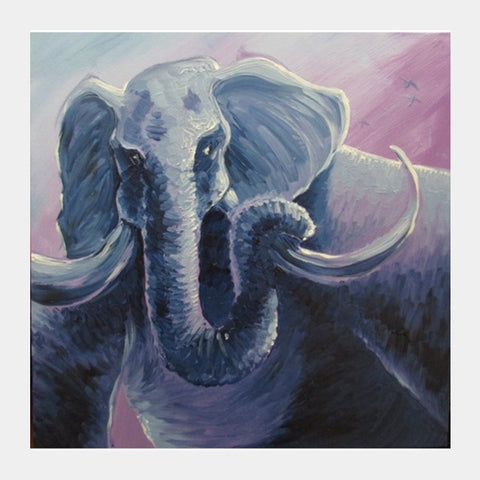Square Art Prints, The Elephant - Painting Square Art Prints | Artist : Smeet Gusani, - PosterGully