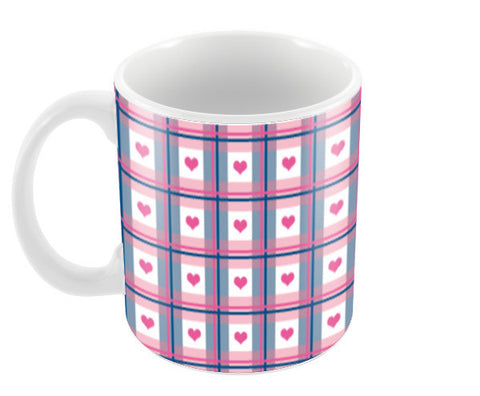 Pink Hearts Plaid Pattern Design Coffee Mugs | Artist : Seema Hooda