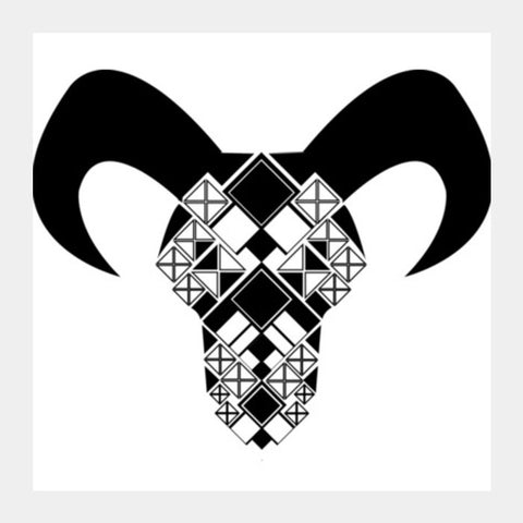 Capricorn symbol, Bull, Geometrical shapes, Black and white Square Art Prints  Square Art Prints | Artist : Noella Dias