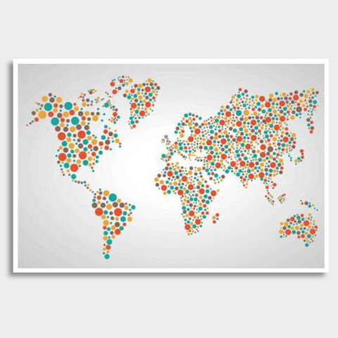 World Map Dots Pattern Giant Poster | Artist : Inderpreet Singh
