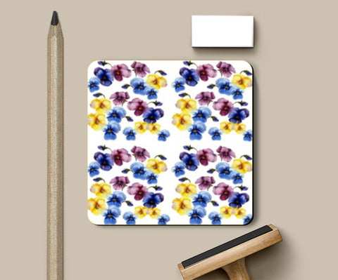 Coasters, Pansy Flowers Floral Pattern Coasters | Artist : Seema Hooda, - PosterGully