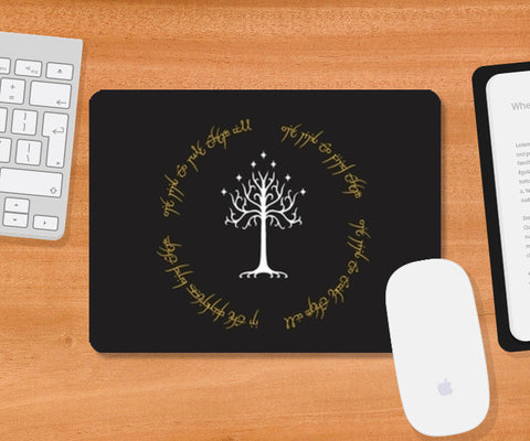 Lord of the ring Gondor white tree gold  Mousepad | Artist : Gauri Deshpande