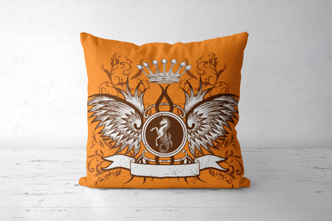 horse with wing,Crown and Floral Cushion Covers | Artist : Anshuraj Tyagi
