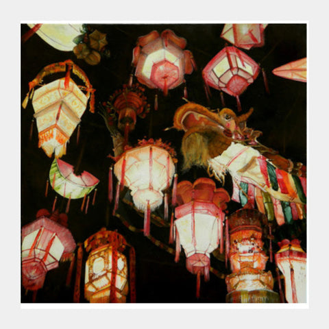 Chinese Lanterns  Square Art Prints | Artist : Tara Isha
