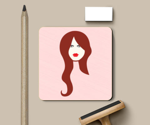Beautiful Woman With Long brown Hair Vector Coasters | Artist : Designerchennai