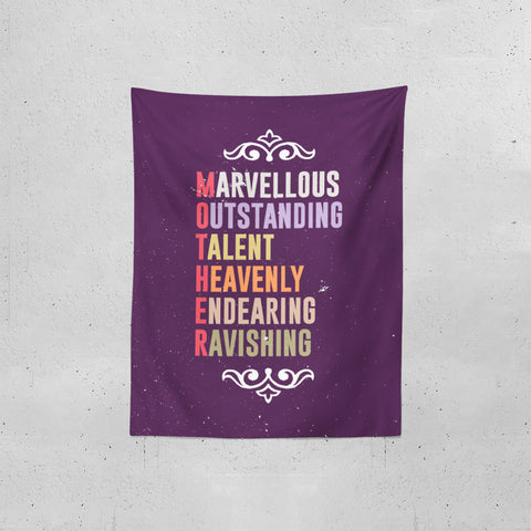 Marvellous meaning of mother letters Tapestries | Artist : Designerchennai