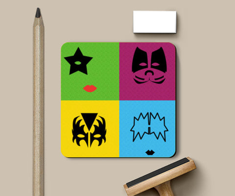 Coasters, KISS Pop Art Coasters | Artist : marika, - PosterGully