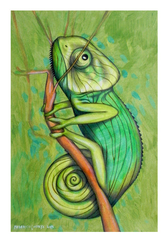 Wall Art, green chameleon Wall Art | Artist : federico cortese, - PosterGully