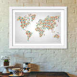 World Map Dots Pattern Premium Italian Wooden Frames | Artist : Inderpreet Singh