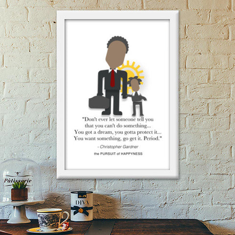 The Pursuit of Happyness | Will Smith | Inspirational Quotes Premium Italian Wooden Frames | Artist : Sriparna Chandra