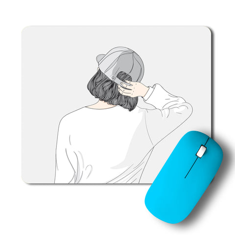Stylish Women In A Cap Mousepad