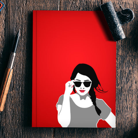 Girl in Red Vector Illustration Notebook | Artist : Sukhmeet Singh