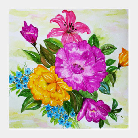 Square Art Prints, Colorful Summer Flower Bouquet Watercolor Painting Square Art Prints | Artist : Seema Hooda, - PosterGully