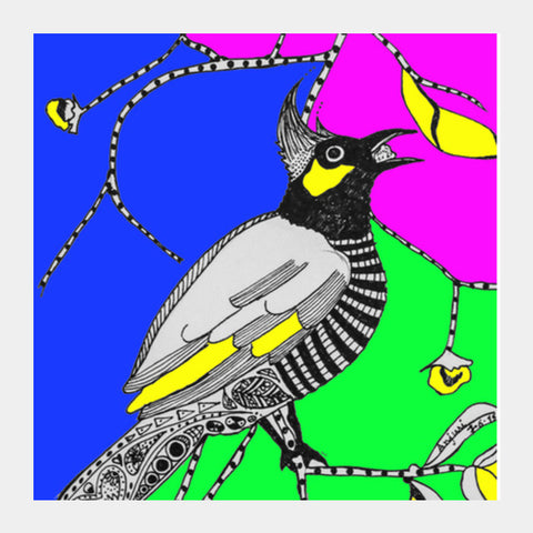 Father Bulbul Square Art Prints | Artist : Anjuri Jain
