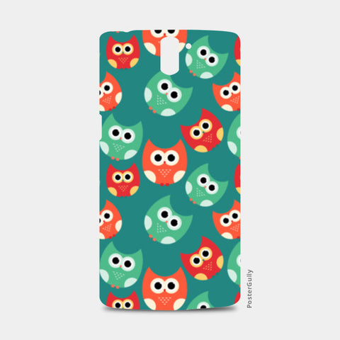 Owl illustrations pattern on green background One Plus One Cases | Artist : Designerchennai