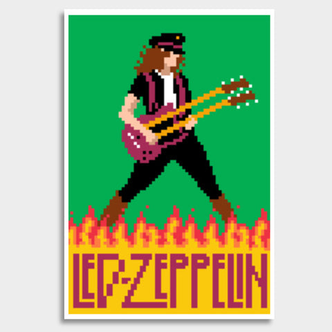 Led Zeppelin Jimmy Page Pixel Art Giant Poster | Artist : 8bitbaba