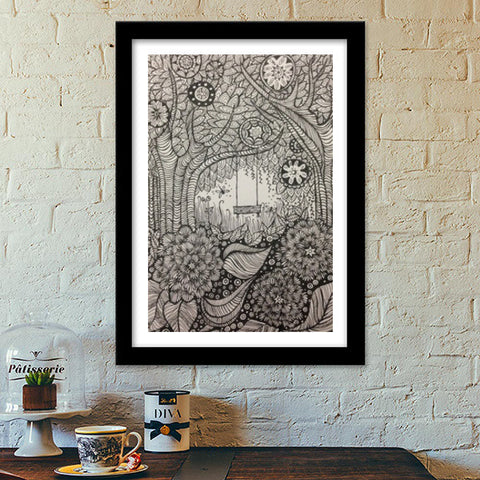 The secret garden Premium Italian Wooden Frames | Artist : archana chaudhary