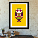 Unique geometric owl on yellow Premium Italian Wooden Frames | Artist : Designerchennai