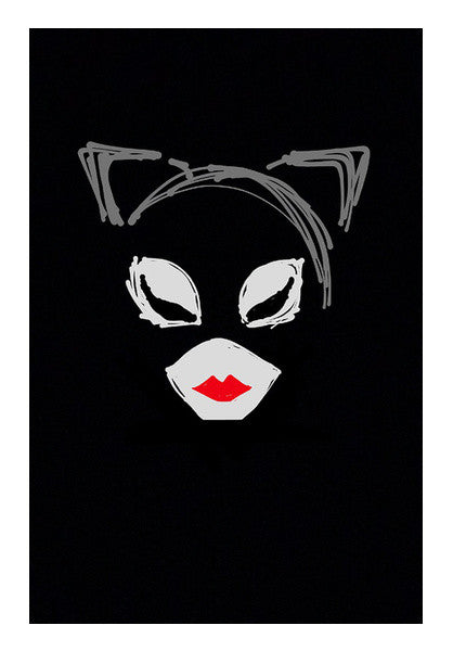 Catwoman Batman Minimal Doodle Sketch Superhero Wall Art Artist