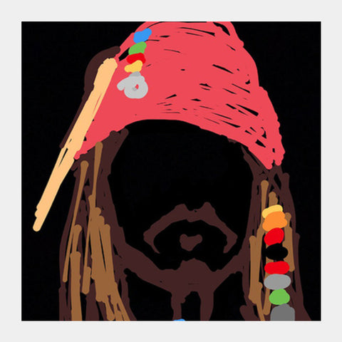 Jack Sparrow Pirates Of The Caribbean Minimal Doodle Square Art Prints | Artist : Praband