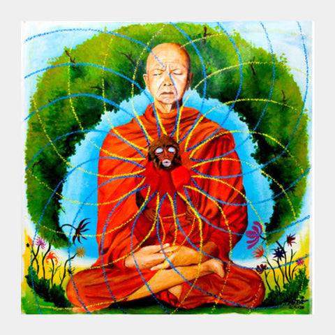 Monkey Mind Buddhist Monk Psychedelic Square Art Prints | Artist : Aashna Aasif