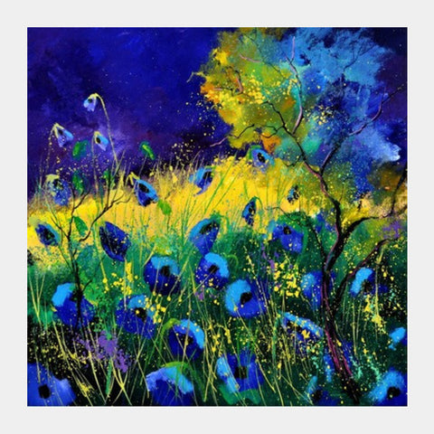 Blue Poppies 77 Square Art Prints PosterGully Specials