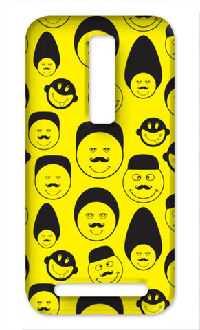 Funny faces vector on yellow Asus Zenfone 2 Cases | Artist : Designerchennai
