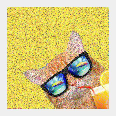 PosterGully Specials, Summer cat Square Art Prints | Artist : Design|A, - PosterGully
