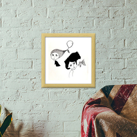 Illustration/cartoon Premium Square Italian Wooden Frames | Artist : Vaishnavi Gajapure