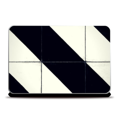 Black and White tile stripe Laptop Skins | Artist : Aditya Gupta